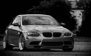 Picture bmw, BMW, coupe, silver, wheels, drives, black and white photo, e92, silvery, tinted