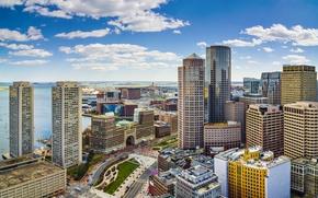 Picture coast, building, panorama, USA, USA, skyscrapers, Boston, Boston, Massachusetts, Massachusetts, The Massachusetts Bay, Massachusetts Bay