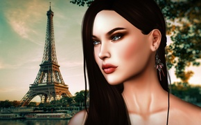 Picture girl, face, hair, tower, Paris, beauty