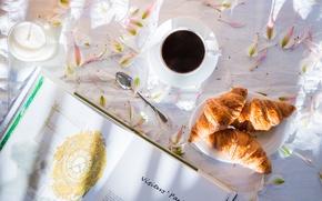 Picture mood, coffee, petals, book, croissants
