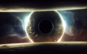 Picture surface, planet, satellites, starships