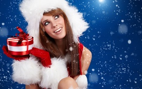 Picture girl, snowflakes, gift, new year, beautiful, Sweet present