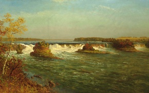 Picture autumn, the sky, clouds, trees, landscape, river, waterfall, picture, thresholds, Albert Bierstadt