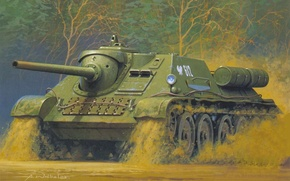 Picture figure, art, self-propelled artillery, Soviet, actively, fighters, tanks, SU-85, weight, average, used, The great Patriotic …