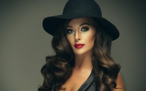 Picture look, girl, makeup, hat