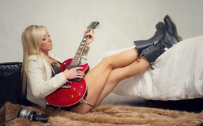 Picture girl, music, room, guitar, legs