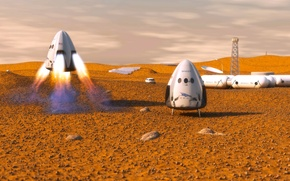 Picture Mars, spaceship, transport, private, Dragon SpaceX