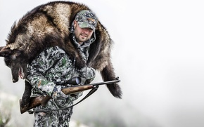 Picture winter, men, hunter, hunting, wof