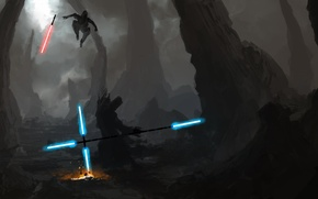 Picture figure, star wars, swords, Jedi, Sith, light