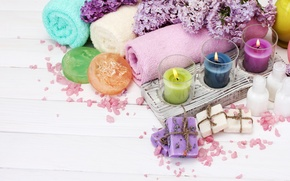 Wallpaper flowers, petals, candles, lilac, spa