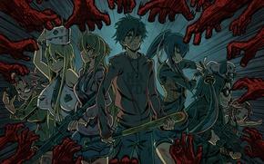 Picture girls, zombies, girl, guys, anime, art, Of Takash Komuro, Highschool of the Dead, Rei Miyamoto, …