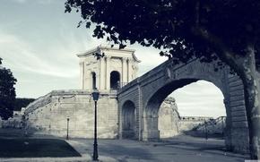 Picture bridge, lantern, vintage, Stone Bridge