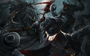 Picture blood, monster, art, Bloodborne, FromSoftware