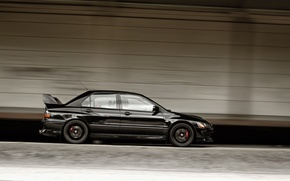 Wallpaper Auto, Black, Machine, Speed, Mitsubishi, Door, Speed, Side view, Lancer Evolution
