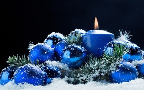 Picture balls, snow, decoration, holiday, candle, New Year, Christmas