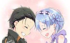 Picture romance, anime, art, two, Subaru, Re: Zero kara hajime chip isek or Seikatsu, REM