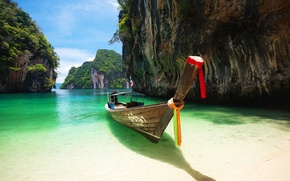 Picture sand, sea, beach, landscape, rocks, boat, Thailand, Phuket