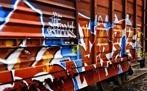 Wallpaper graffiti, the car, train