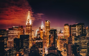 Picture lights, New York, skyscrapers, twilight, Manhattan, Chrysler Building, United States