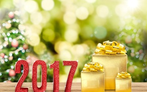 Wallpaper 2017, Gifts, Holidays, New Year