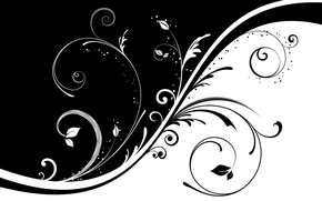 Wallpaper pattern, curls, black and white