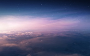 Picture the sky, stars, clouds, sunset, height, art