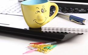 Picture creative, positive, blur, handle, smile, Cup, Notepad, laptop, notebook, smile, hi-tech, bokeh, clip, laptop, wallpaper., ...