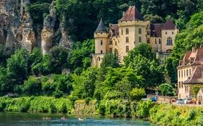 Picture city, river, trees, France, rocks, people, houses, village, castle, boats, La Roque Gageac