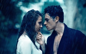 Picture girl, love, rain, pair, guy, wet, Alessandro Di Cicco
