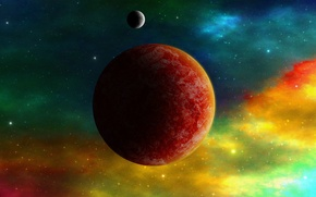 Picture space, planet, stars, color