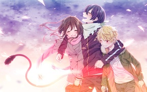 Picture the sky, the wind, petals, scarf, jacket, tail, friends, three, Ulybka, noragami, yato, two hiyori, …