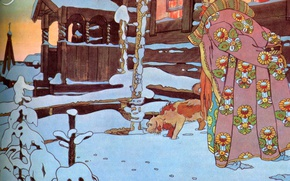 Picture winter, snow, house, the moon, dog, Bilibin Ivan Yakovlevich (1876-1942), Tsar Saltan-1, A collection of …