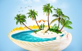 Picture sea, palm trees, creative, umbrella, sink, chaise, island