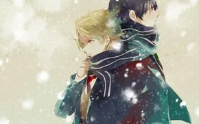 Picture Snow, guys, anime, art, Scarf, Beyond, Kyoukai no Kanata, Akihito Kambara, Kanbara Akihito