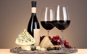 Picture wine, glass, bottle, cheese, grapes, olives, corkscrew