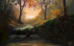 Picture autumn, forest, leaves, trees, nature, river, waterfall, stream, art