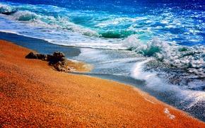 Picture sand, sea, stones, shore, surf
