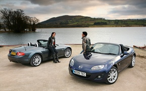 Picture river, shore, pair, Mazda, Auto