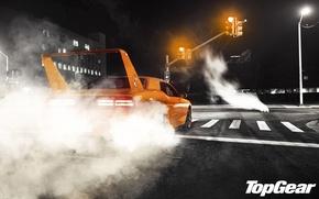 Picture night, orange, street, tuning, smoke, traffic light, Top Gear, Dodge, Challenger, spoiler, muscle car, rear …