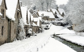 Picture winter, snow, England, village, Bibury