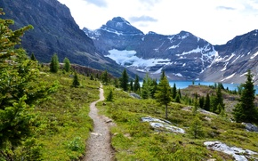 Picture mountains, lake, Canada, path, Mount Revelstoke National Park