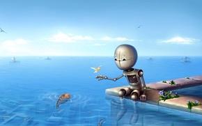 Picture sea, fish, Robot, horizon