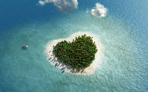 Picture Nature, Sea, Heart, Island, Tropics, Top
