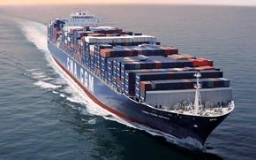 Picture Sea, Blue, Board, The ship, Cargo, A container ship, Tank, On The Go, CMA CGM, …