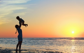 Picture children, child, HD wallpapers, Wallpaper, sea, wave, girl, baby, full screen, positive, the sun, girl, ...