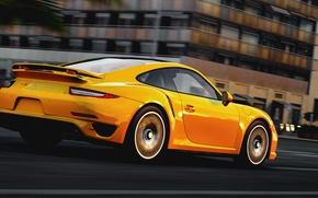 Picture road, the city, speed, Porsche, Porsche 911, Turbo S