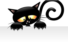 Picture look, background, legs, vector, tail, claws, ears, black cat