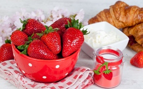 Wallpaper berries, table, towel, strawberry, plate, croissants, jar, sour cream