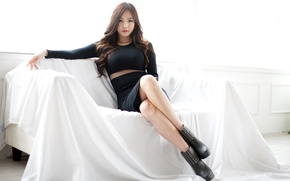 Picture Beautiful, Asian, Model, Girls, Beauty, Sofa, Actress, Korean, Lee Ji Min, Legs. Cute