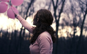 Picture leaves, widescreen, cardigan, arm, leaves, HD wallpapers, Wallpaper, pink, back, brunette, trees, background, branches, balloons, ...